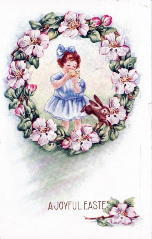 1918 Easter postcard sent to Mrs. Hentry Frevert from Edna Champagne