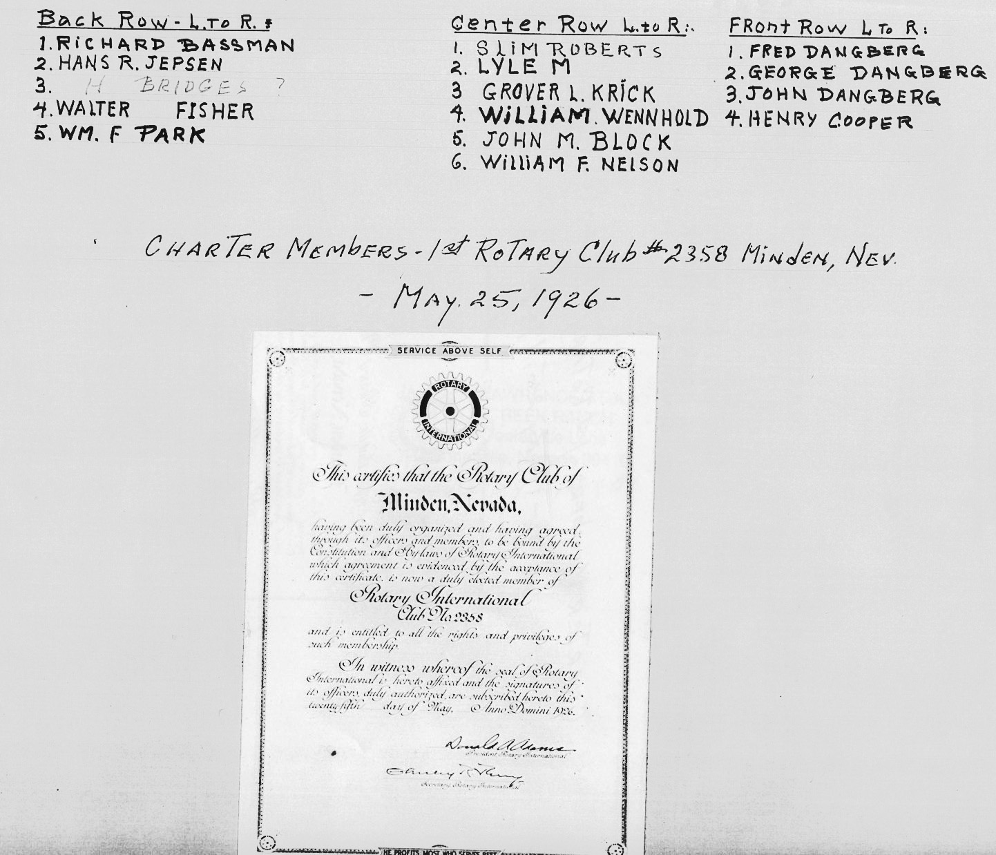 Copy of the original Rotary Club #2358 Charter pasted on the reverse side of the image
