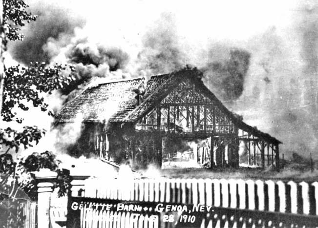 Gelatt Livery burning during Genoa Fire of 1910