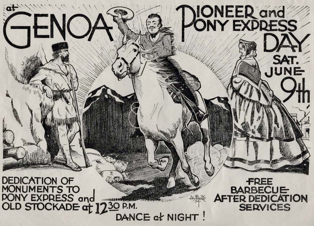 Poster for 1934 Genoa Pioneer & Pony Express Day created by Lew Hymers