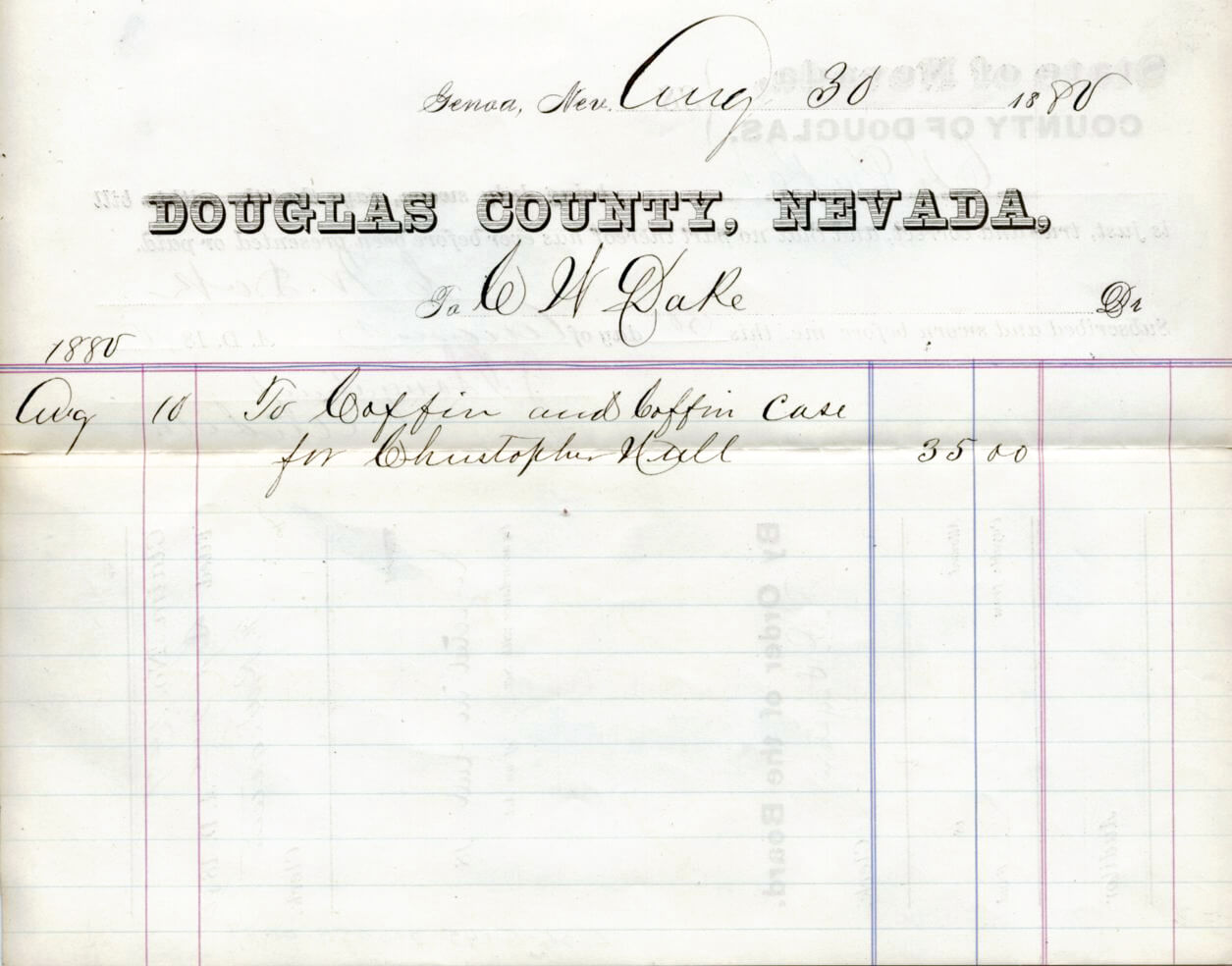 Invoice for a coffin for the murdered man, Christopher Hull