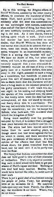 """Article from the Genoa Weekly Courier, August 20, 1880, titled """"The Hull Murder"""""""