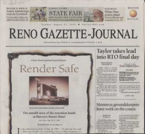Reno Gazette-Journal's with articles related to the 25th anniversary of the August 1980 bombing of Harvey's Casino Resort, Lake Tahoe.