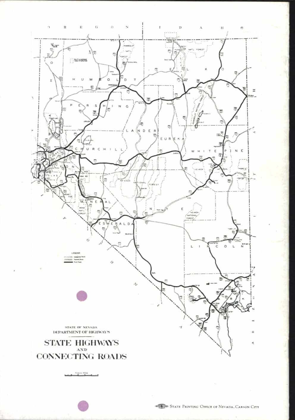 Nevada highways and connecting roads